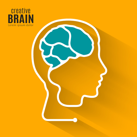 Creative brain. Concept forming one line of the human brain inside head.
