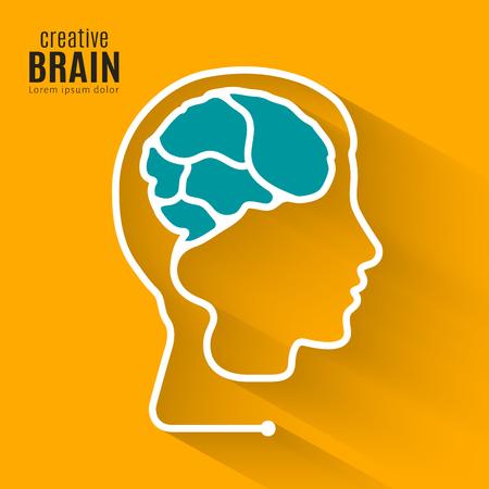 Kreatywny mózg. Koncepcja tworząca jedną linię ludzkiego mózgu wewnątrz głowy.