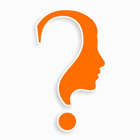 Menschliches Gesicht mit Fragezeichen. Bildungs- und Innovationskonzept.