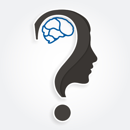 Human face and brain with question mark. Education and innovation concept. Vector.