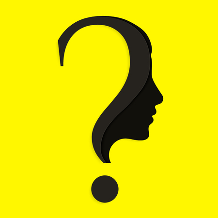Human face with question mark in Education and innovation concept.