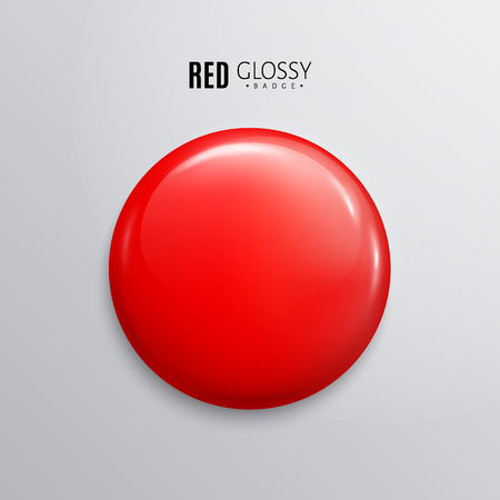 Blank red glossy badge or button. 3d render.