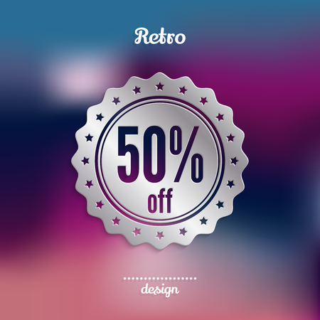 50 % off discount silver badge, stamp, sticker, seal, tag, label. Fifty percent offer. Product promotion. Illustration