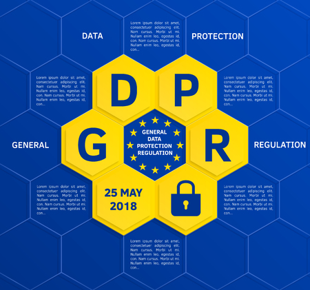 General Data Protection Regulation (GDPR) concept may 25, 2018. Vector.