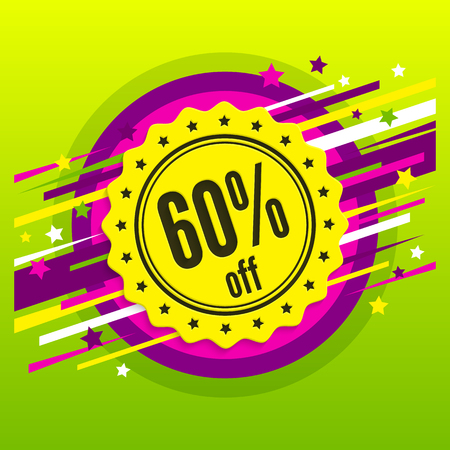 Sale 60 % off. Discount badge, stamp, sticker, tag, label. Sale poster. Sixty percent offer. Product promotion. Vector.