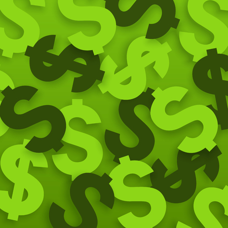 Dollar signs. USA currency symbols on green background. Vector.