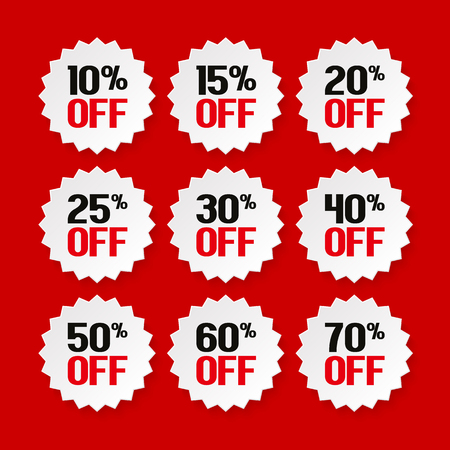 Sale tags from 10 to 70 percent. Product promotion. Vector.