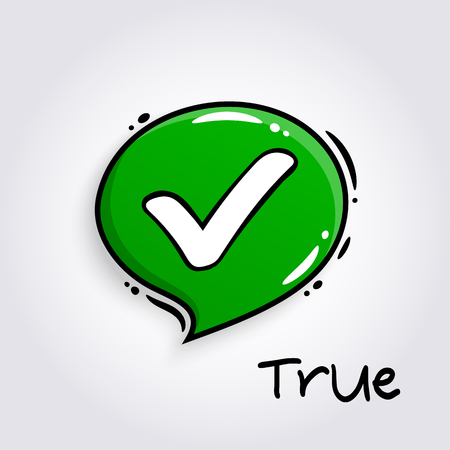 Green speech bubble with tick sign. Approve symbol for evaluation quiz. Checkmark and accept icon.
