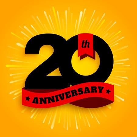 Logotipo de aniversario de veinte años con cinta roja, celebración de los 20 años. Fuegos artificiales sobre fondo amarillo. Vector.