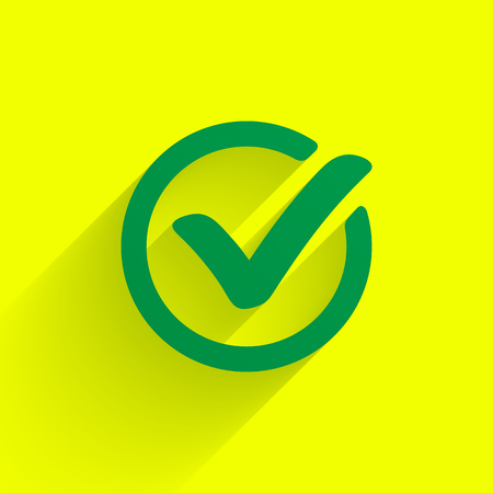 Green check mark. Tick symbol, icon, sign or web button.