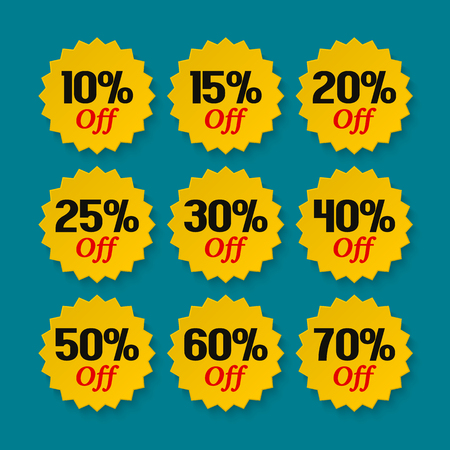 Sale tags 10, 15, 20, 25, 30, 40, 50, 60, 70 percent. Collection of discount badges, stamps, stickers, labels. Product promotion. Illustration
