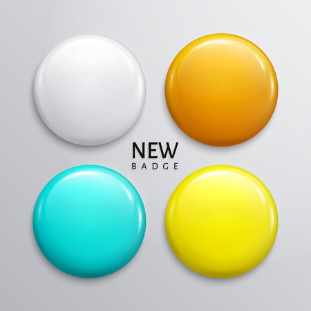 Blank glossy badges, pin or web button. Four colors, white, orange, turquoise and yellow.