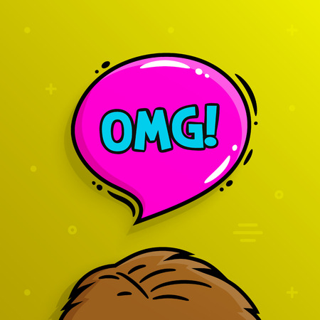 Omg concept. Human head and speech bubble with text OMG. Vector illustration.