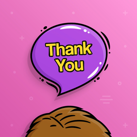 Thank you text inside speech bubble with human head.