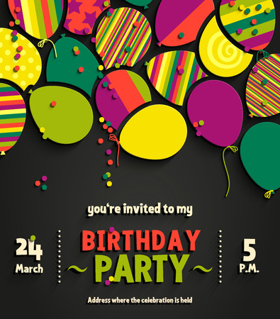 Birthday party invitation card with colorful flat balloons.