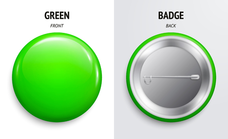 Blank green glossy badge or button. 3d render. Round plastic pin, emblem, volunteer label. Front and Back Side.