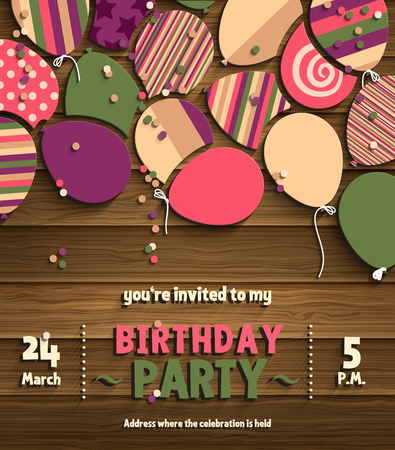 Birthday party invitation card with colorful flat balloons on wooden background.