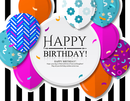 Happy Birthday greeting card with colorful patterned balloons in flat style. Confetti and black stripes on background.