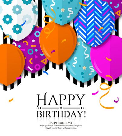 Biglietto di auguri di buon compleanno con palloncini fantasia in stile piatto. Coriandoli e strisce nere su sfondo. Vettore.