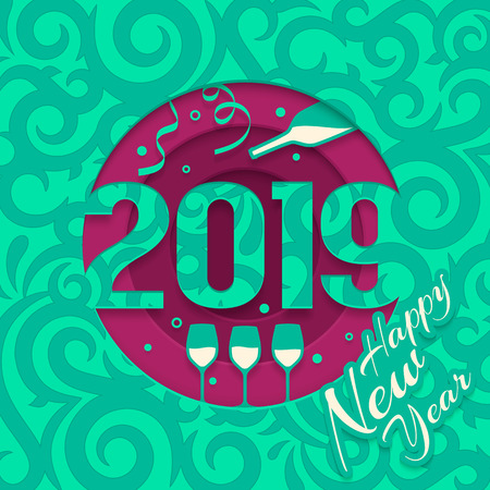 2019 Happy New Year greeting card with cutted numbers, bottle of Champagne and glass.