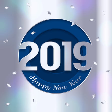2019 Happy New Year greeting card. Numbers cutted from silver paper and confetti on background. Vectores
