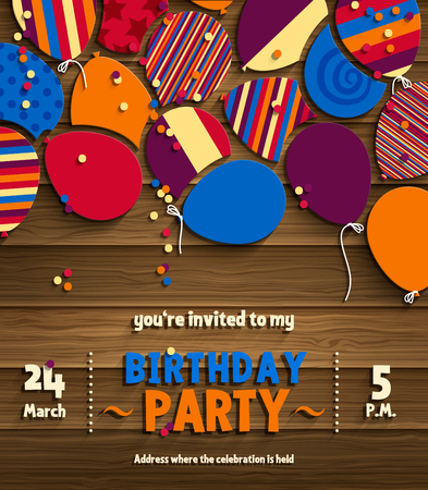 Birthday party invitation card with patterned flat balloons on wooden background.