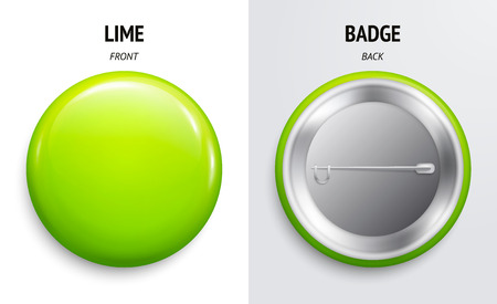 Blank lime glossy badge or button. 3d render. Round plastic pin, emblem, volunteer label. Front and Back Side. Vectores