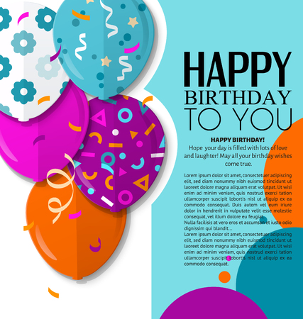 Happy Birthday greeting card with patterned balloons in flat style. Vector.