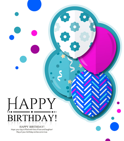 Happy Birthday invitation card with colorful patterned balloons in flat style.