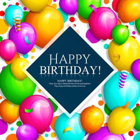 Biglietto di auguri di buon compleanno. Mazzo di palloncini colorati e coriandoli. Lettere eleganti sullo sfondo. Vettore.