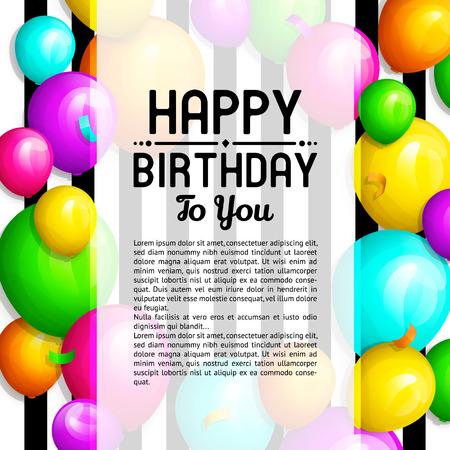 Happy Birthday greeting card. Bunch of colorful balloons and confetti. Stylish lettering on striped background.