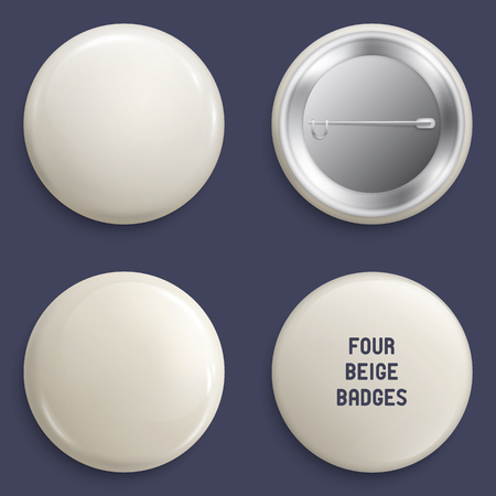 Vector blank beige glossy badges or web buttons. Four different plastic pins, emblems, volunteer labels. Front and Back Side. 3d render. Ilustrace