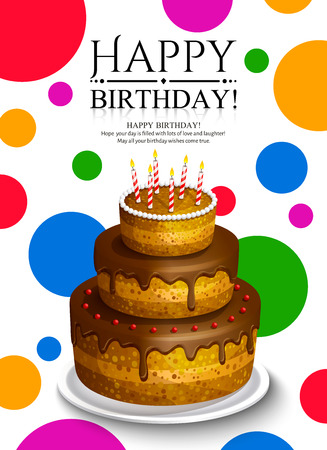 Happy Birthday greeting card. Chocolate cake with burning candles on dotted background. Foto de archivo - 124788456