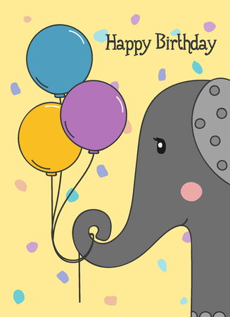 Happy Birthday greeting card with elephant holding three balloons on dotted background. Vector. Stock Illustratie