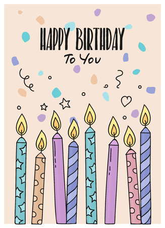 Happy Birthday greeting card with burning candles on dotted background. Vector.