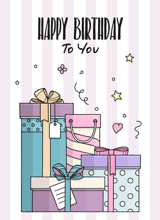 Happy Birthday card with hand drawn doodle gift boxes. Lots of presents in flat style. Vector. Stock Illustratie