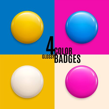 Set of four colorful glossy badges or buttons.