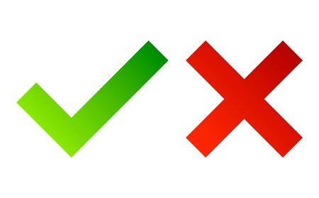 Check mark. Green tick symbol and red cross sign. Icons for evaluation quiz. Vector.