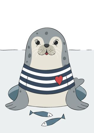 Seal cute sea lion, animal in sailor t-shirt. Hand drawn funny illustration. Childish print for nursery, poster, postcard. For winter or christmas. Vector.