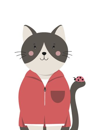 Cute cat. Little kitty with ladybug on the tail. Childish print for nursery, poster, postcard. Can be used for fashion t-shirt design. Vector. Vectores