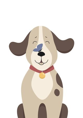 Cute baby dog with butterfly on the nose. Childish print for nursery, poster, postcard. Can be used for fashion t-shirt design. Vector.