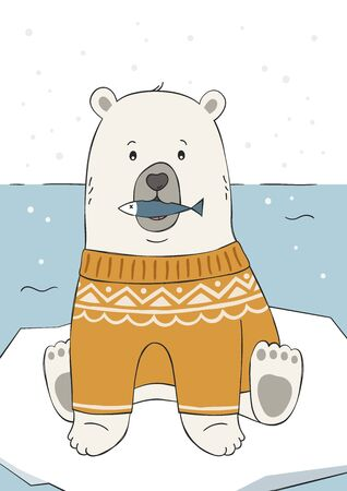 Cute hand drawn polar bear in yellow sweater. Funny cartoon illustration. Childish print for nursery, poster, postcard. For winter or christmas. Vector. Vectores