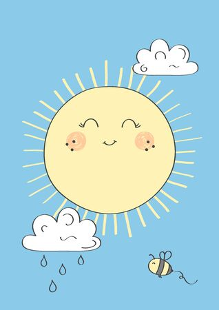 Cute sun with smile. Little bee and clouds on the background. Poster for baby room. Childish print for nursery. Design can be used for fashion t-shirt. Hand drawn illustration.