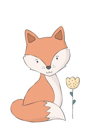 Cute fox and flower. Woodland animal. Poster for baby room. Childish print for nursery. Design can be used for fashion t-shirt. Hand drawn vector illustration. Vectores