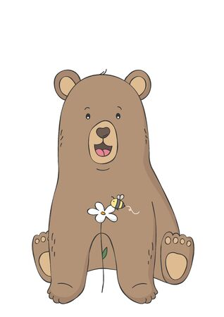 Cute bear and bee on flower. Woodland animal. Poster for baby room. Childish print for nursery. Design can be used for fashion t-shirt. Hand drawn illustration. Vectores