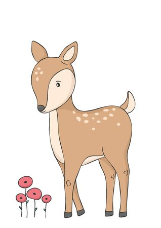 Cute deer and red flowers. Woodland animal. Poster for baby room. Childish print for nursery. Design can be used for fashion t-shirt. Hand drawn vector illustration. Vectores