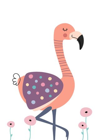 Cute flamingo in flowers. Poster for baby room. Childish print for nursery. Design can be used for fashion t-shirt, greeting card, baby shower. Vector.