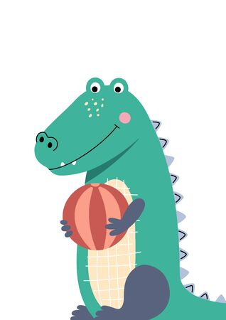 Cute crocodile playing with the ball. Poster for baby room. Childish print for nursery. Design can be used for fashion t-shirt, greeting card, baby shower. Vector. Vectores