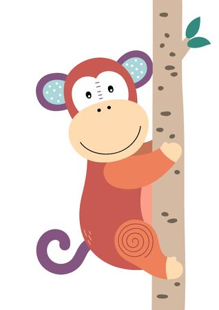 Cute monkey climbing the tree. Poster for baby room. Childish print for nursery. Design can be used for fashion t-shirt, greeting card, baby shower. Vector illustration.