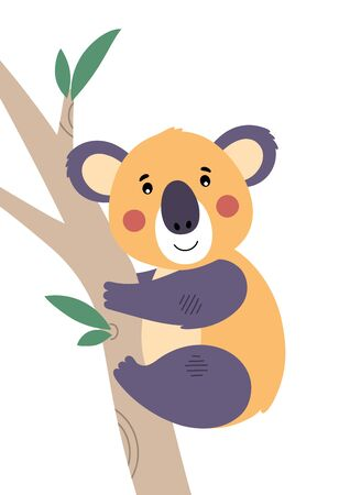 Cute koala on eucalyptus branch. Poster for baby room. Childish print for nursery. Design can be used for fashion t-shirt, greeting card, baby shower. Vector. Vectores